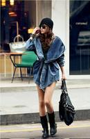 2014 New Fashion Women Lady Denim Coat Hoodie Hooded Outerwear Jean Jacket