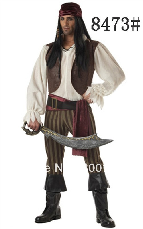 free shipping Adult men's caribbean pirate costume men's pirate costume including top,jacket,pant,head band,belt,waist band(China (Mainland))