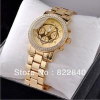 2013 Famous Brand Luxury Diamonds Women's Quartz Watch Japan Move Date Watch Male For Men Gold ladies's Wristwatch Free shipping