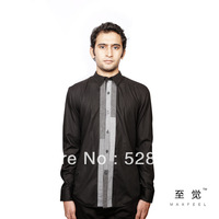 Free shipping 2013 new fashion for men's long sleeve shirt fashion autumn black