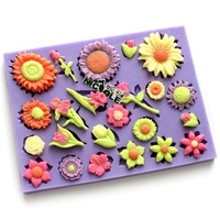 Free Shipping New 2013 3D F0314 flowers silicone fondant cake molds soap chocolate mould for the kitchen baking