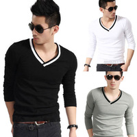 New Korea Solid Color Men's Fashion V-Neck Slim Long Sleeve T-Shirt + Gift