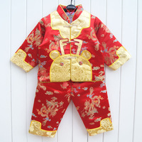 2012 winter male child silk cotton set baby tang suit cotton set