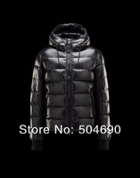 Men Winter Coat Black Red Brown Hooded Down Jacket On Both Sides Of The Zipper Pocket Down Parkas Men's Jackets Goose Down Coat