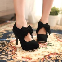 New fashion women's shoes round head bowknot high heels 2 colors