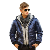 2013 autumn and winter with a hood wadded jacket outerwear men's clothing winter slim the trend of the cotton-padded jacket faux