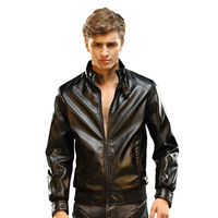 2013 men's male clothing PU clothing autumn and winter water washed leather clothes plush stand collar leather coat