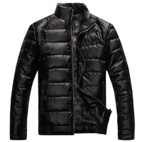 Male PU short design male thin coat male down outerwear