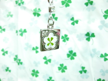 Lucky four leaf clover mobile phone chain gold plated pendant belt rhinestone accessories long design