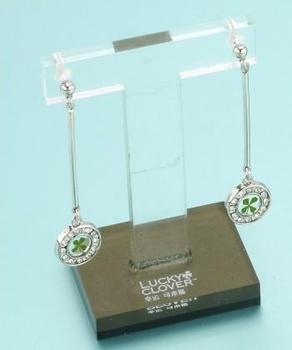 Novel Four leaf clover earrings platinum diamond rhinestone hemming female earrings long design accessories  lucky present