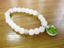 Lucky four leaf clover AMBER bracelet female powder jade diamond bracelets small round pendant pulseira pulseras