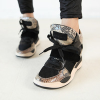 New! Women's Genuine leather AS Sneakers star style serpentine pattern color Height Increasing Fashion elevator shoes lacing