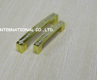 128mm golden color Free shipping K9 crystal glass furniture handles drawer cabinet handles