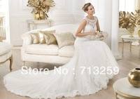 2014 Mermaid Bateau Wedding Dresses Sheer Neckline Long Chapel Train Custom Made Tulle Bridal Spring Garden Gowns Cheap Corset