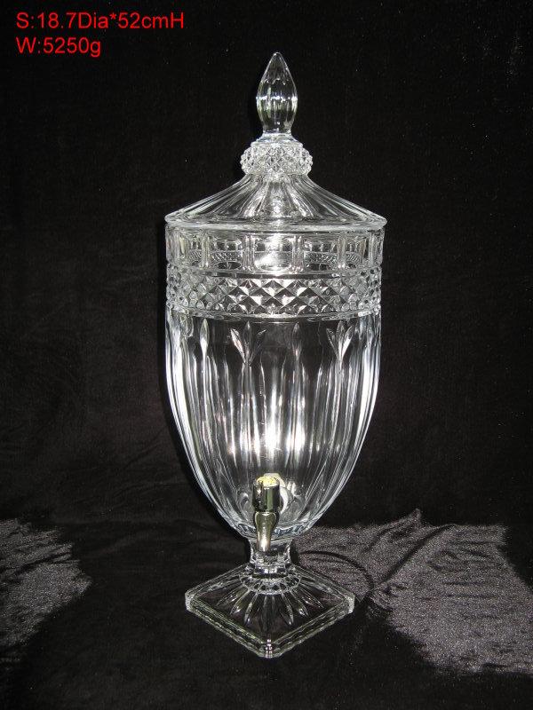 Crystal fruit juice bucket diamond pattern glass juice bucket faucet storage tank ice black tea(China (Mainland))