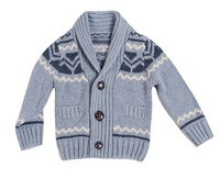 Foreign trade children's clothing boy's sweater cardigan euramerican style gray banana get hunting jacquard jackets