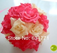 "Sales ! 4 Pcs 5"" Rose Red and Beige Two-Color Kissing Ball Pew Bows Wedding Party Supplies(k025)"