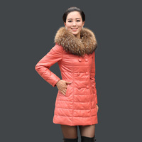 Gullable 2013 detachable genuine leather down coat female genuine leather clothing medium-long slim lo523 Free mailing