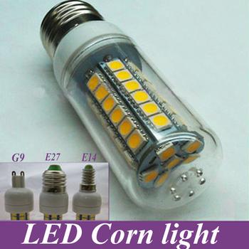 E27 7W 48 SMD 5050 LED Corn Light Bulb White  Warm White Corn Lamp spotlight Lighting With Cover Free shipping 5pcs