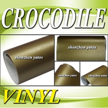 Gold Crocodile skin wrap folie for car wrapping   With Air bubbles 1.52x30M