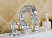 Free shipping chrome clour  brass Bathroom Sink Faucet  crystal handles DRAGON FAUCET