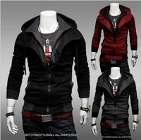 2013 Hot Fashionable Casual Slim Hoodies Cardigan Double Zipper Thin Sweatshirt  Outerwear Men Jacket Coat Red/Gray/Black