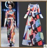 Free shipping Newest fashion Runway charning long catwalk women's dress Irregular national wind colorful color piece TT2702
