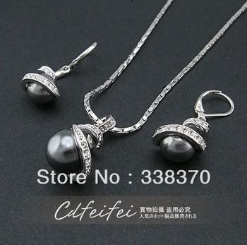 Ringant vintage women cute elegant unique fashion wholesale Full spiral drill pearl fashion prosperous earrings necklace suits