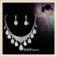 2013 quality bride accessories rhinestone bridal necklace 2 piece set accessories