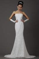 Prom Dresses 2013 New Arrival Beautiful Mermaid Prom Dresses Lace Evening Gown White Vestidos Formales Bandage Dresses