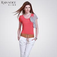 Women stretch cotton t-shirt short-sleeve female slim solid color o-neck simple t-shirt female short-sleeve