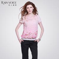 Fashion elegant cool short-sleeve loose chiffon short design t-shirt 1755