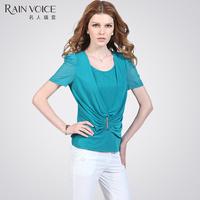 T-shirt female short-sleeve women's slim faux two piece set 2013 short-sleeve t-shirt female