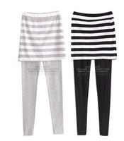 New Fashion   women stripe skirt legging  ,Twinset Legging with skirt, 6pcs/lot, free shipping