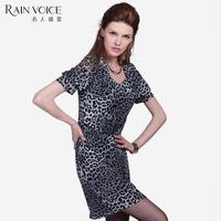 Leopard print intellectuality 1601 short-sleeve dress slim