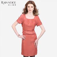 Summer women's elegant ladies brief puff sleeve solid color slim waist short-sleeve dress slim
