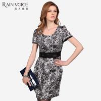 Women's slim fashion ol elegant short-sleeve dress xl12030