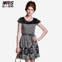 Women's 2012 ol elegant short-sleeve slim waist dress 3008