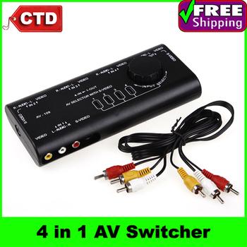 4 in 1 Av-109 Compound Audio Converter S Terminal Video Switcher  AV RCA Selector Switch Splitter,