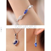 1 Jewelry Set Shining Crystal Rhinestone Party Wedding Angels Eye Necklace Bracelet Earring Sapphire Blue Color