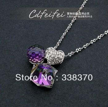 Ringant vintage women cute elegant unique fashion wholesale Purple crystal Amethyst ball love heart necklaces earrings suit
