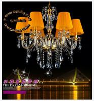Free shipping Luxury european gold chandelier, K9 crystal chandelier E14 bulb base power AC110V-240V