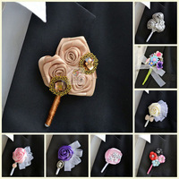 Wholesale 8pcs/lot Hand made Luxury Artificial brooch Silk  flower for Bridegroom corsage wedding accessories