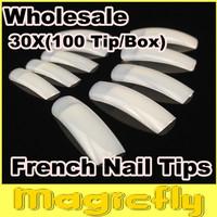 [PFL-017]Wholesale 30X100Tips/Box(Package with Box)  Natural French Nail Tips False Acrylic Nail Art Tips + Free Shipping