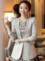 2013 Fall Plus Size Grey Color Female Slim Blazer Outerwear Women's Medium-Long  OL Pleated Linen Cotton Work Suit Coats