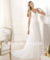 2014 Sexy V-neck Sheath Soft Tulle Bridal Wedding Dresses Corset Back Shiny Sequins Geogrous Beading Reception Gowns Custom Made