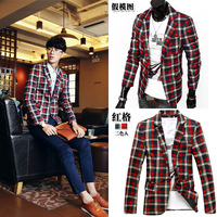 Autumn plaid male slim suit blazer plaid outerwear blazer x995p60