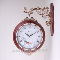 Fashion wood double faced wall clock fashion luxury mute quartz clock and watch movement