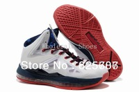 Free Shipping Lebron X 10 Men's Basketball Sport Footwear Sneaker Trainers Shoes - White / Navy Blue / Red