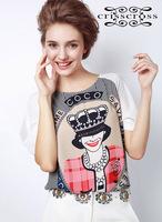 Wholesale&Retail Free Shipping Summer new arrival 2013 women's fashion handsome portrait puff sleeve chiffon shirt t-shirt